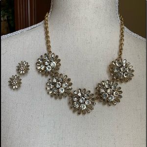 J. Crew gold and crystal statement set